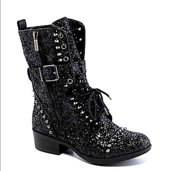 Gianni Bini Sparkle & Studded Black Combat Boots